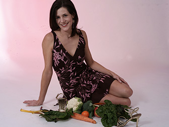 Lisa Posing With Vegetables