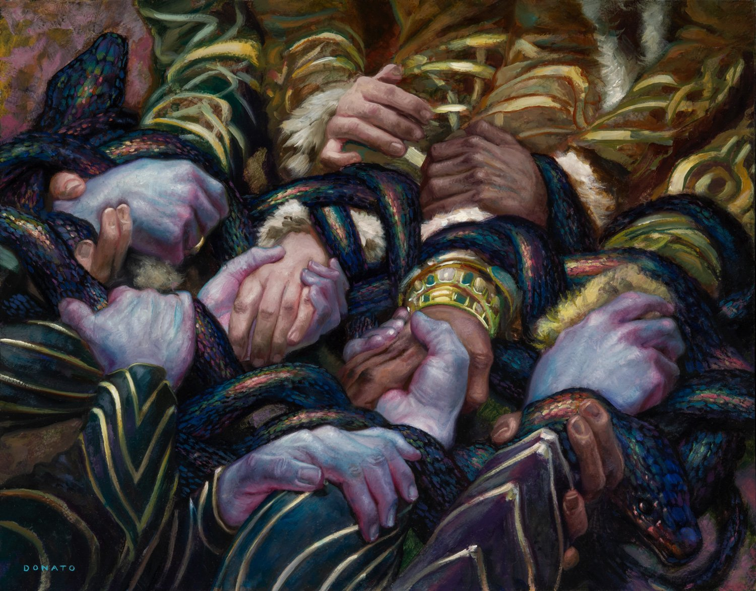 """Pact Of The Serpent Kaldheim Set release 14"""" x 18""""  Oil on Panel private collection"""