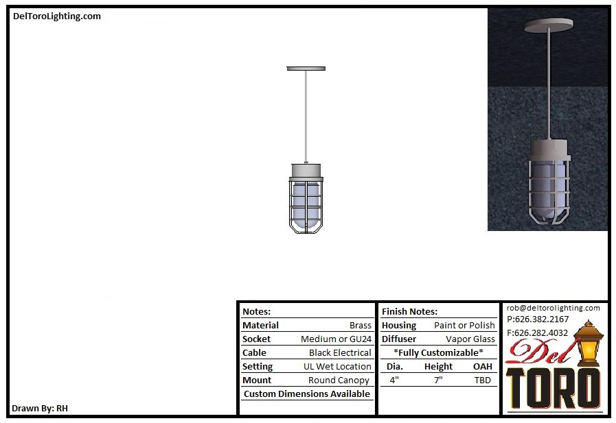 861P-Vapor Glass Cage Pendant
