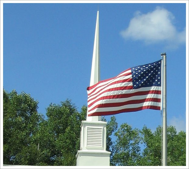 Our church flag steeple||||