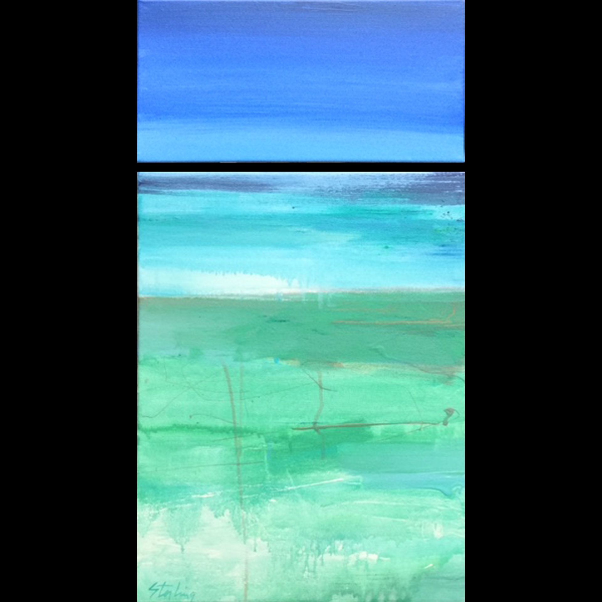 SEA LEVEL acrylic on canvas diptych 14x26 $240