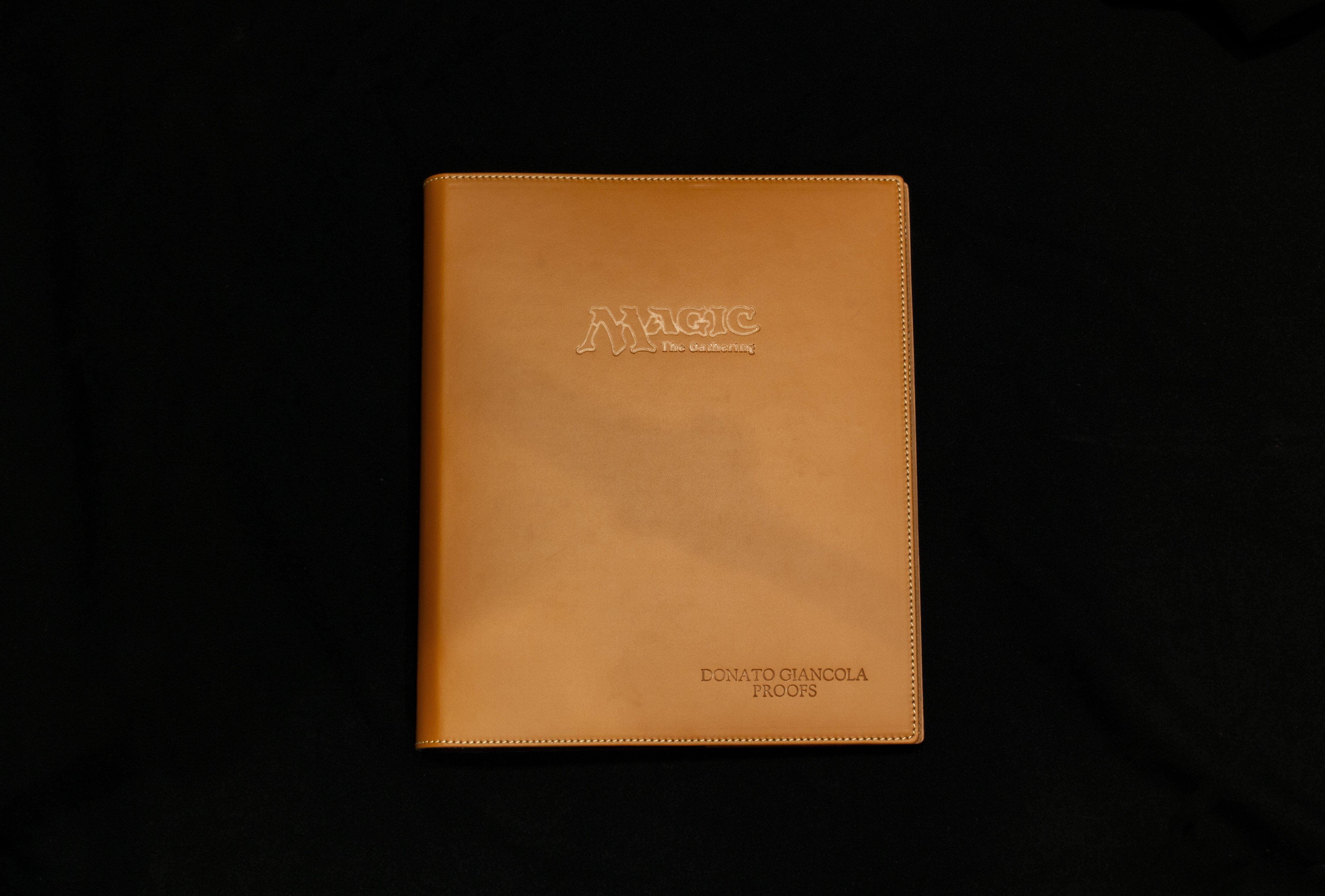 Embossed Italian Leather binder - option - blind-emboss tan