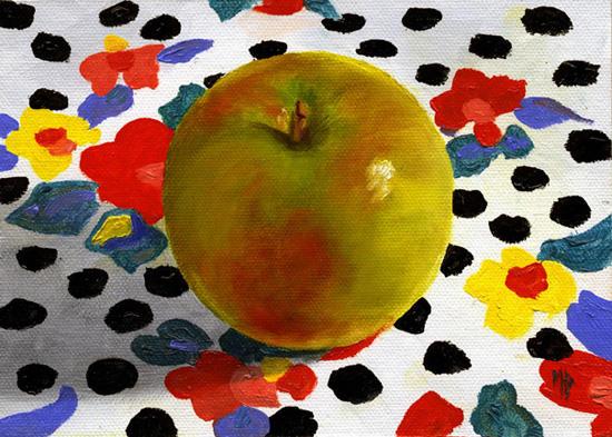 "Polka Dot Apple ~ 5""x7"" Oil on Canvas Panel    SOLD"