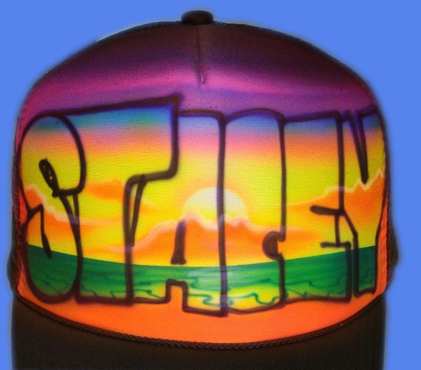 Airbrushed Beach Scene Hat