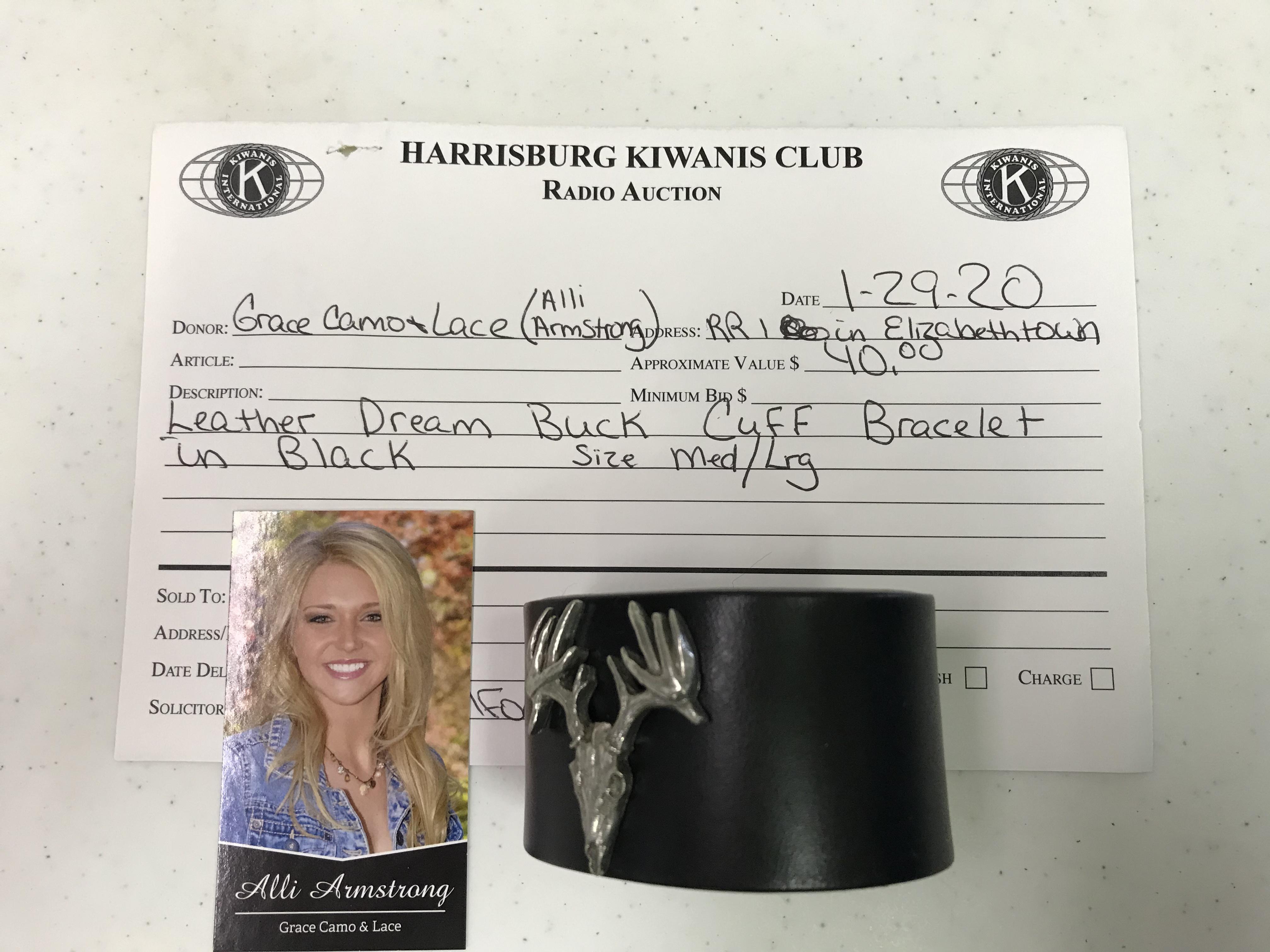 Item 131 - Grace Camo & Lace - Alli Armstrong Leather Dream Buck Cuff Bracelet Size Medium/Large