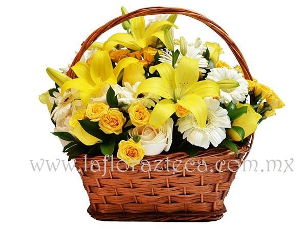 MD - 124  $880 Bella canasta de rosas,lilies y gerberas