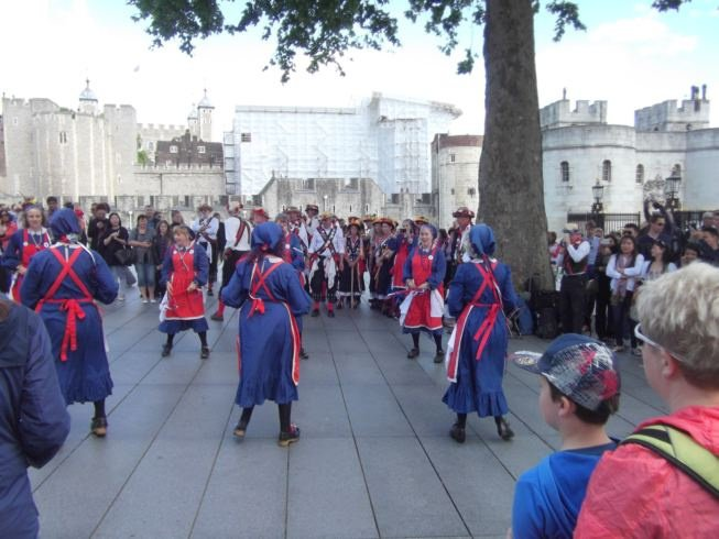 Whitethorne dancing outside the Tower of London
