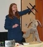 Cheryl demonstrating Rags at a Humane Education Conference