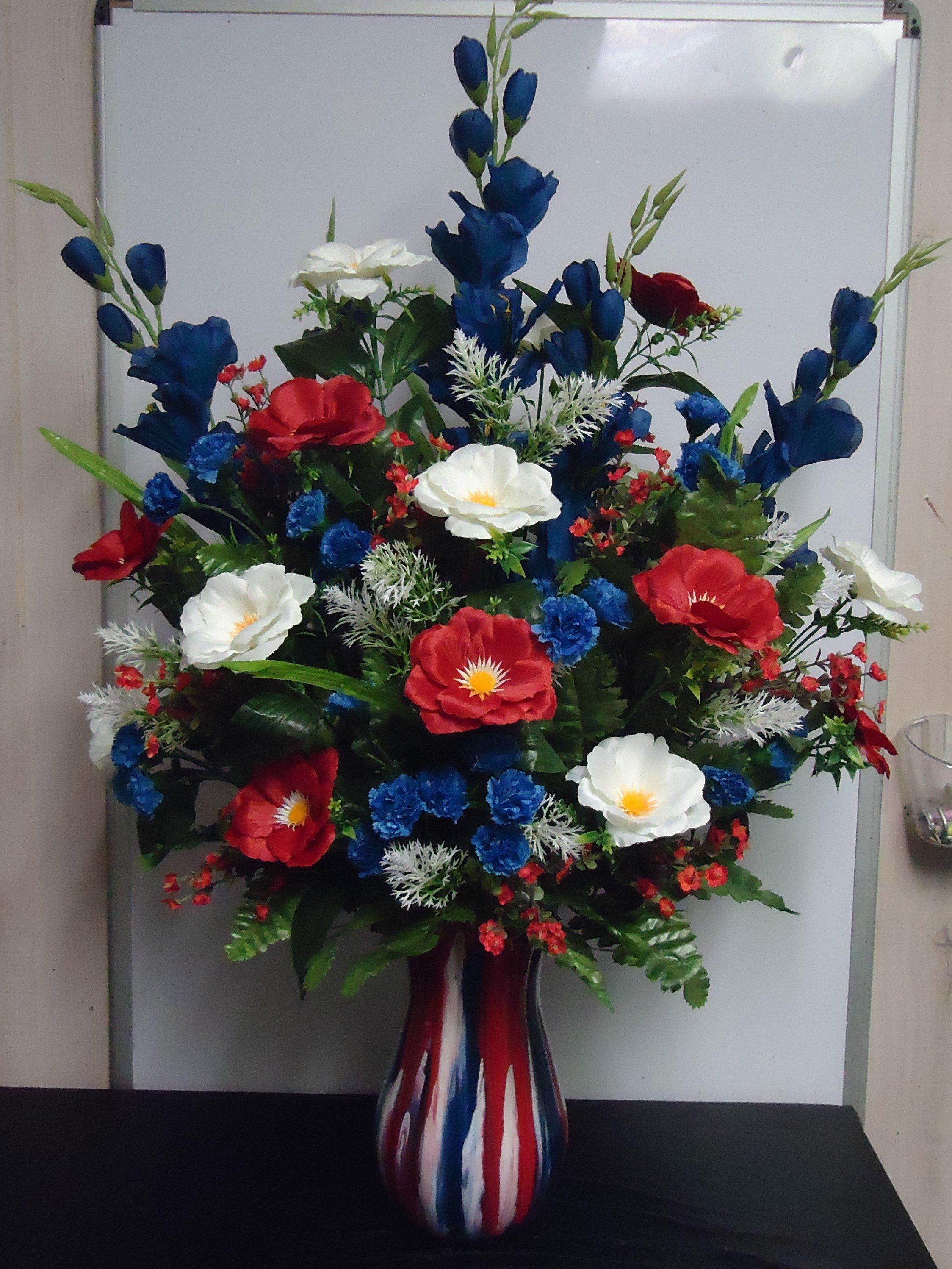 """(23) """"Silk"""" Vase Arrangement (Red, White & Blue) $75.00"""