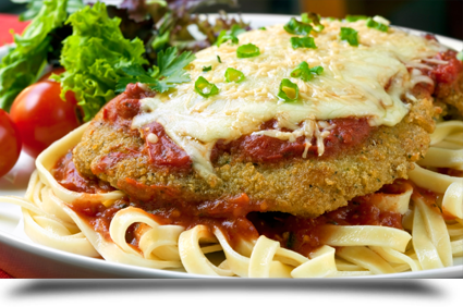 Chicken parmigiana with salad||||