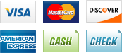 We accept Visa, MasterCard, Discover, American Express, Cash an Check.