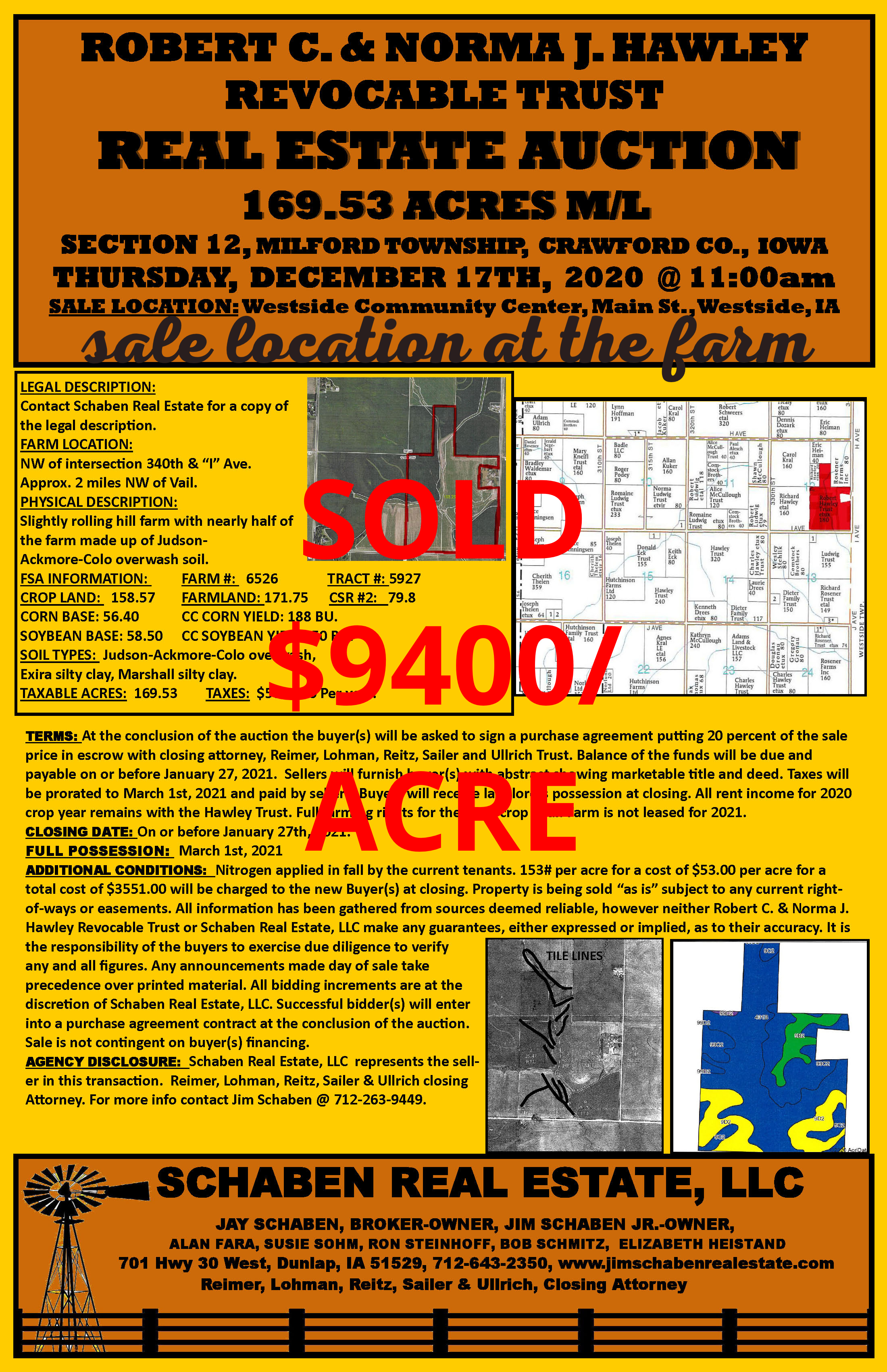Sale Location changed to be at the farm. From Vail go 2 miles north on M55 then 1/2 mile west on E25