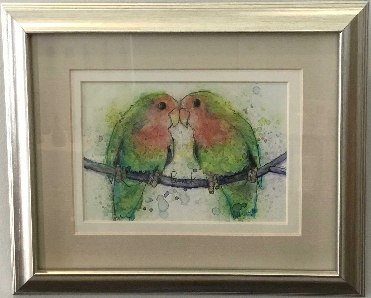 "Lovebirds Watercolor and Ink 10"" X 12"" $175."