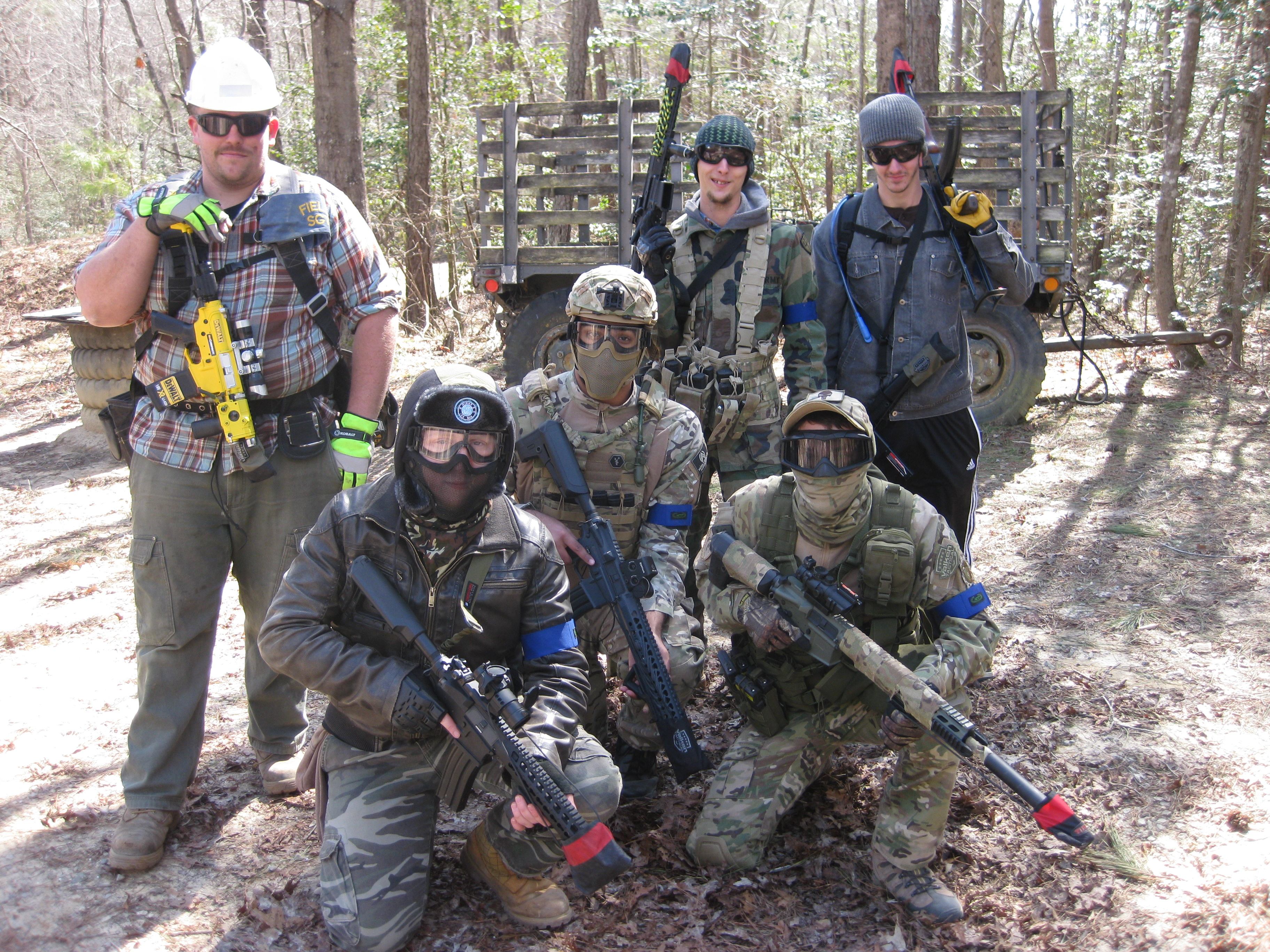 With fellow Airsoft players