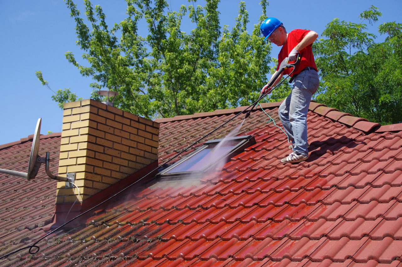 Washing off Debris and Dirt from Roof