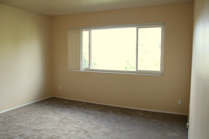 Bedroom with a dual=pane window and vertical blinds.
