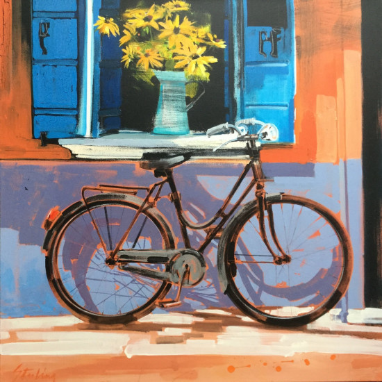 Burano bicycle 36x36 SOLD mixed media on canvas