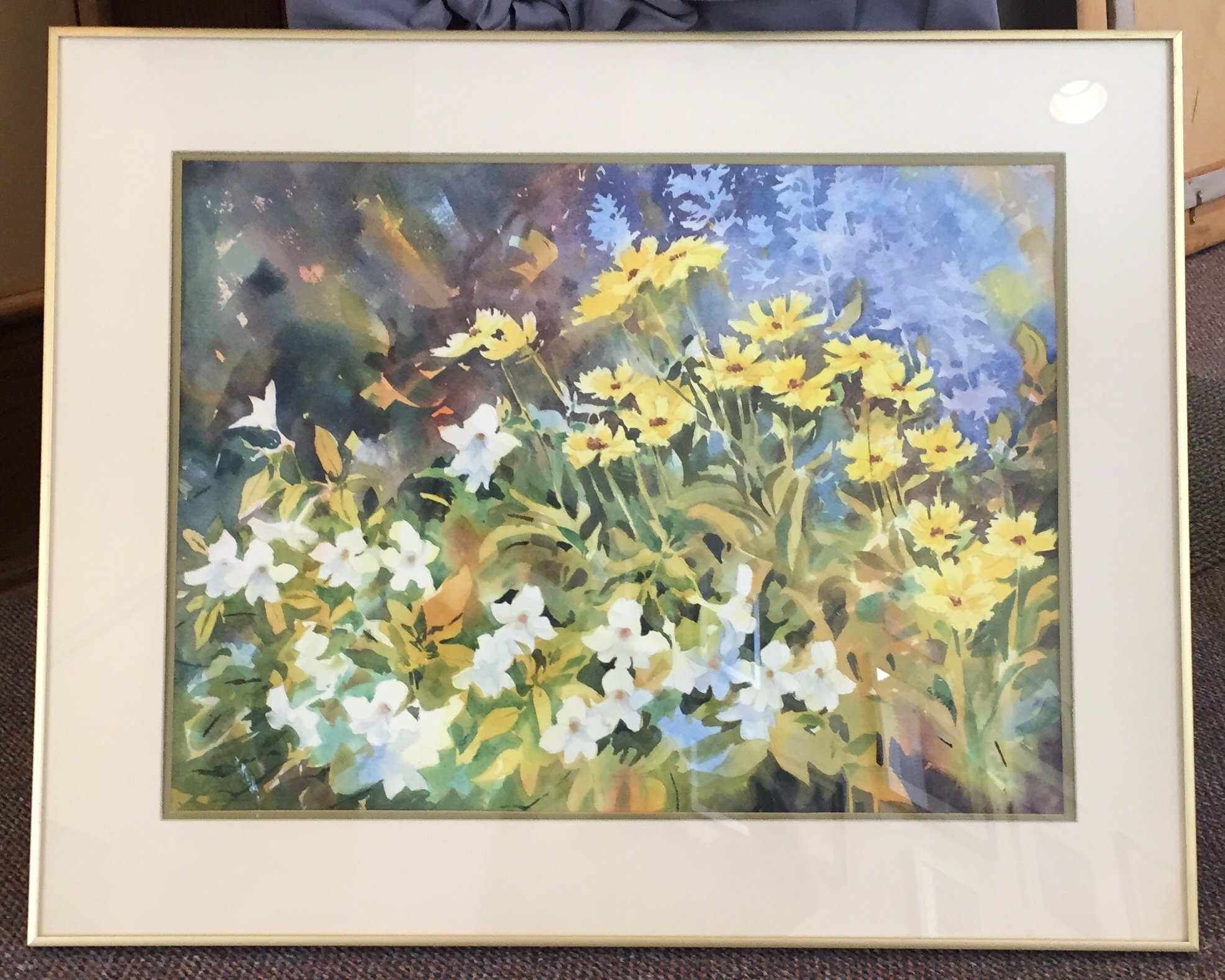 "Georgia Newton Garden Flowers Watercolor 25"" X 19"" $150."