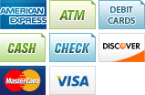 We accept American Express, Debit Card, Cash, Checks, Discover, MasterCard and Visa.||||
