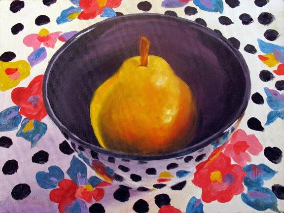 "Polka Dot Pear 2  - 6""x8"" Oil on Panel  SOLD"