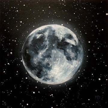 """Moon Glow - 6""""x6"""" Oil on Canvas Panel SOLD"""
