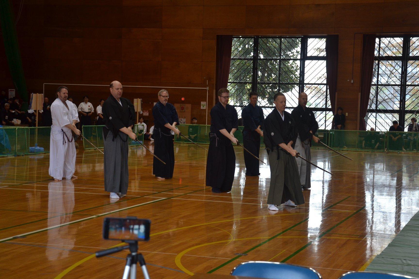 Toyama Ryu Embu - participants from UK, Canada, Australia, D.C., California and Kenshinkan Dojo.