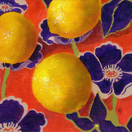 """Lemons On Persimmon ~ 6"""" x 6""""  Oil on Canvas Panel    SOLD"""