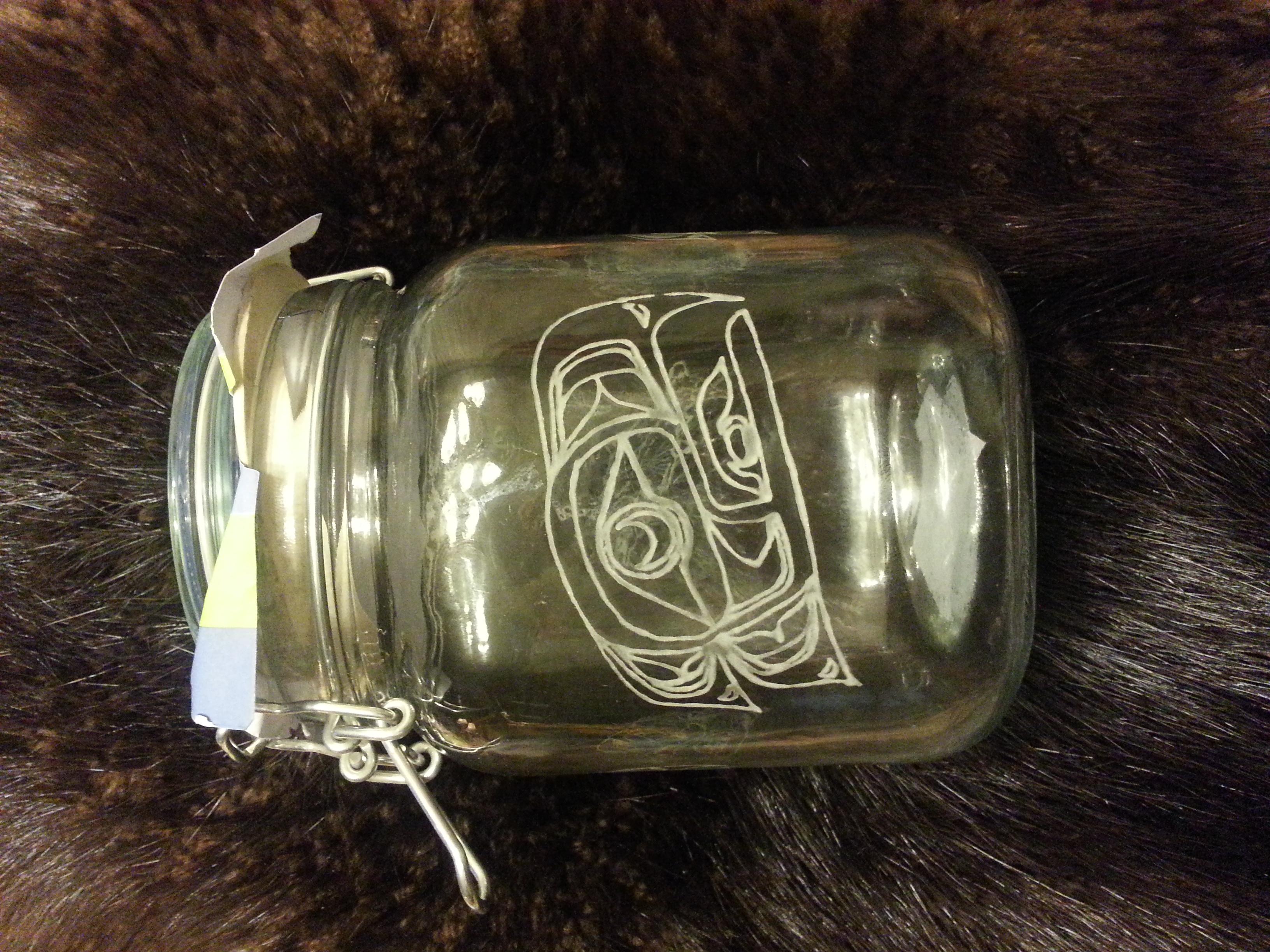 Native eagle engraved storage jar... $45.00   Sold, i can make more...