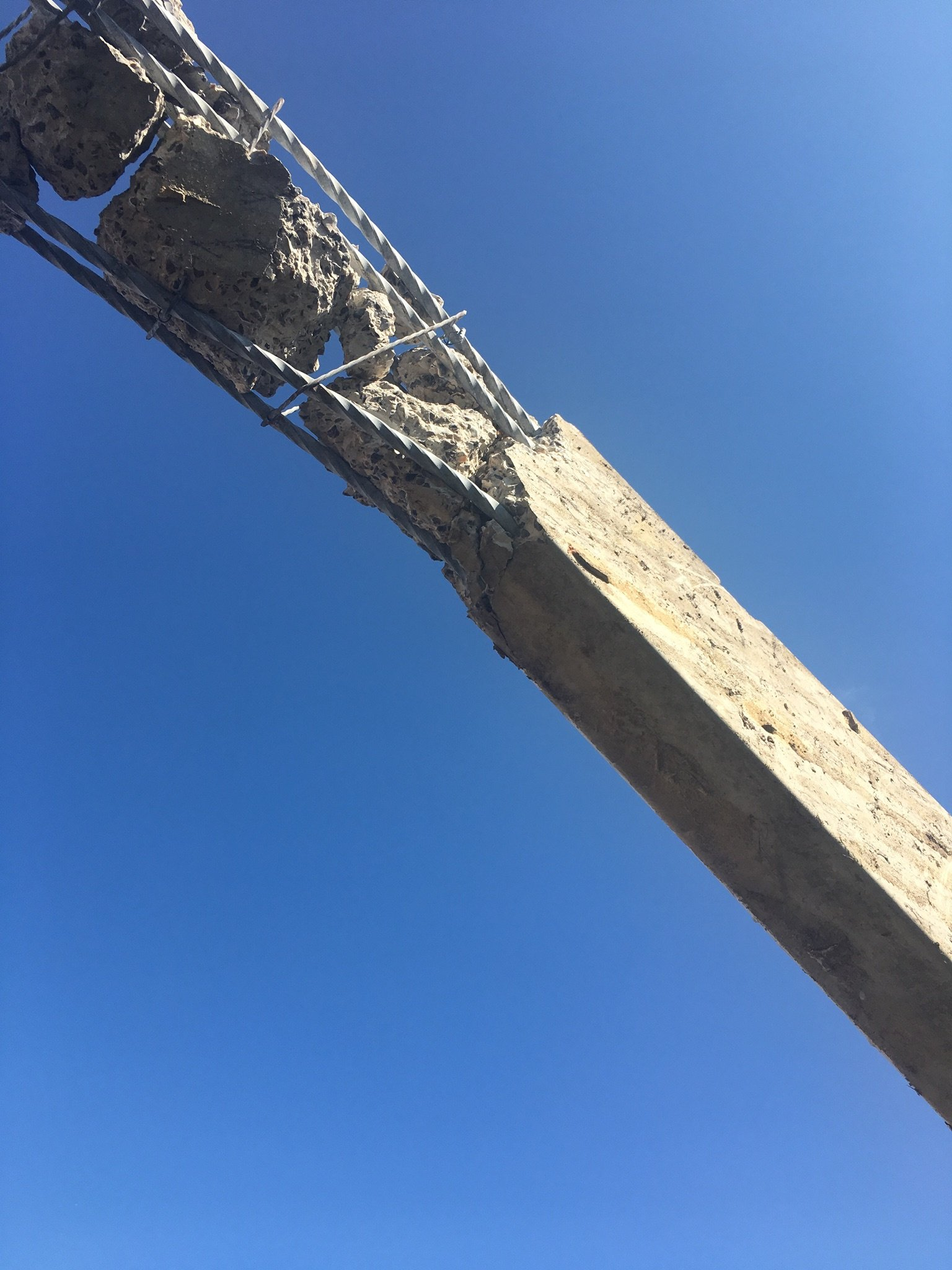One bay was taken away, this picture shows the internal rebar of the main roof concrete beam