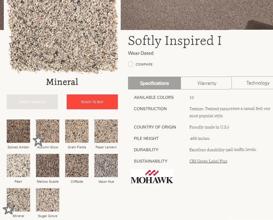 SOFTLY INSPIRED I  alfombra Recortada  100% Polipropileno   Tráfico  Residencial -  ( 1.462 g/m2)