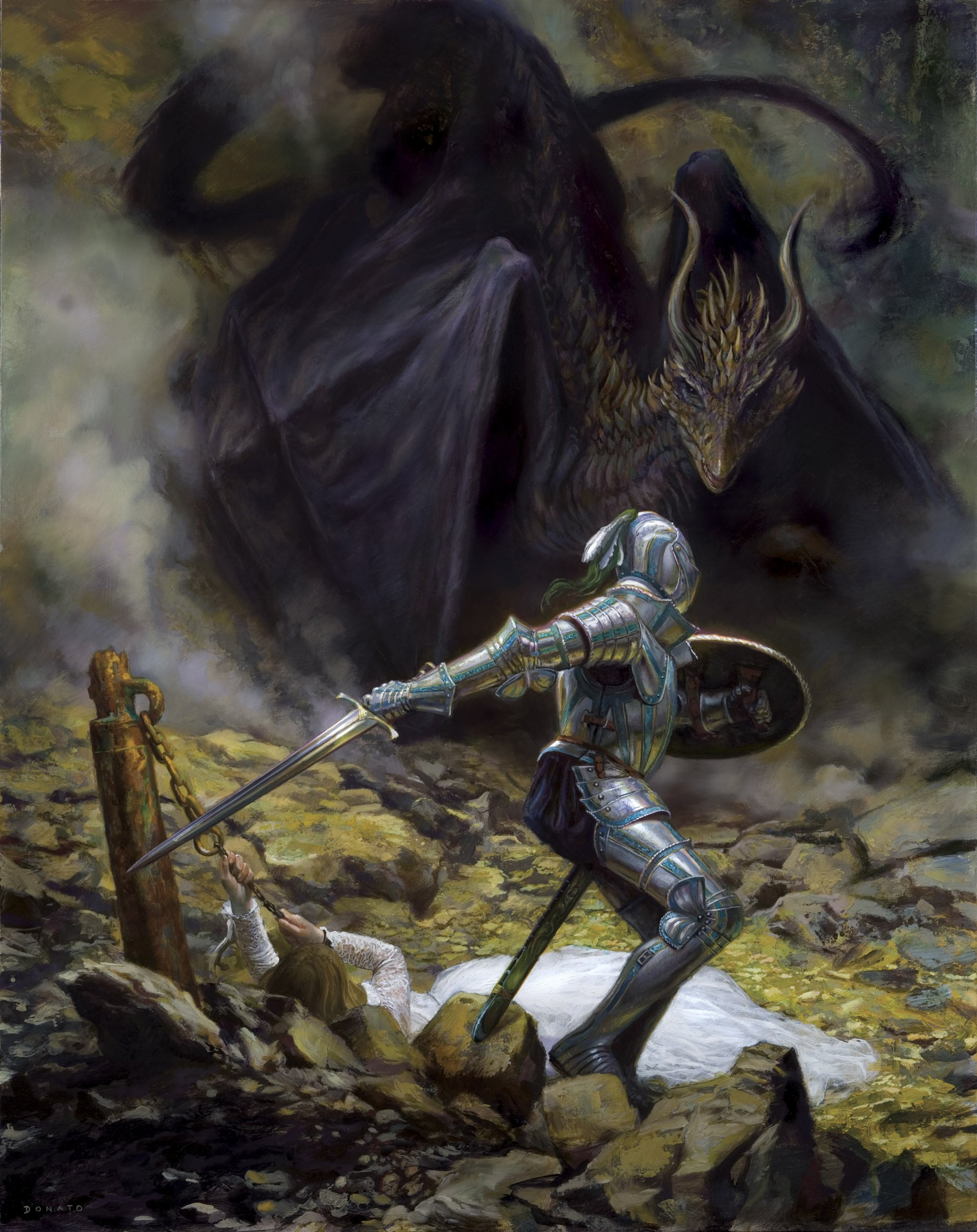 "St. George and the Dragon 30"" x 20""  Oil on Panel 2010 Advertising image for DragonCon"